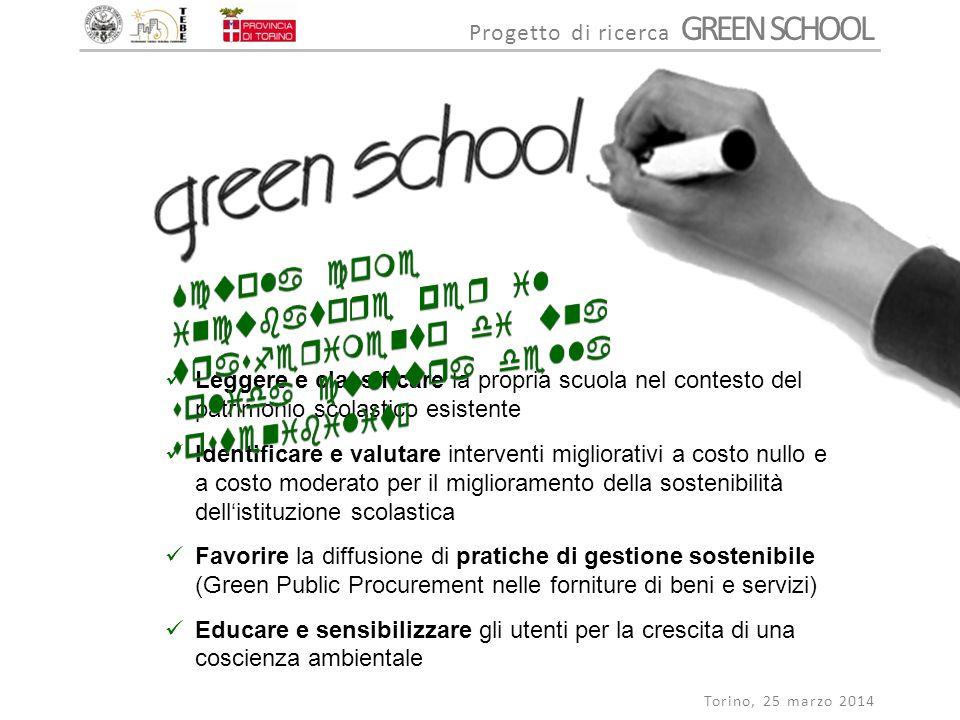 Progetto di ricerca GREEN SCHOOL Torino, 25 marzo 2014 Caratteri di un edificio scolastico sostenibile Presenza di ambienti confortevoli e adatti per insegnare e imparare Ridotti consumi di risorse naturali nella fase di esercizio Gestione e manutenzione secondo criteri di sostenibilità ambientale, economica e sociale LOCALIZZAZIONE E MOBILITA' SOSTENIBILITA' DEL SITO ACQUA ENERGIA QUALITA' DELL'AMBIENTE INTERNO SICUREZZA QUALITA' ED EFFICIENZA SPAZIALE GESTIONE SOSTENIBILE FORMAZIONE