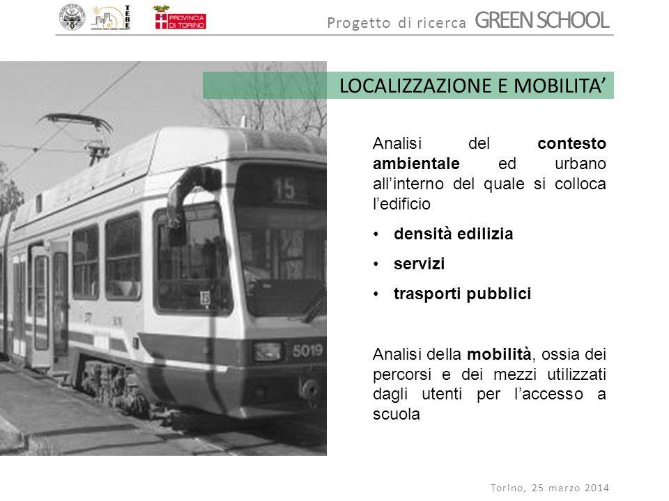 Progetto di ricerca GREEN SCHOOL Torino, 25 marzo 2014 LOCALIZZAZIONE E MOBILITA' Analisi del contesto ambientale ed urbano all'interno del quale si c