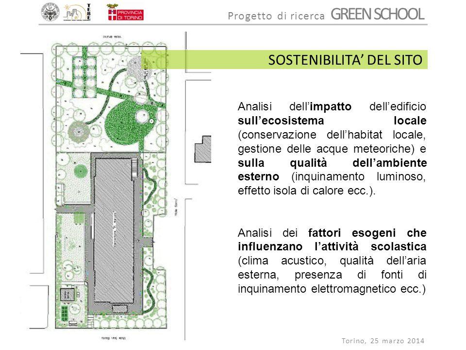 Progetto di ricerca GREEN SCHOOL Torino, 25 marzo 2014 Analisi dell'impatto dell'edificio sull'ecosistema locale (conservazione dell'habitat locale, g