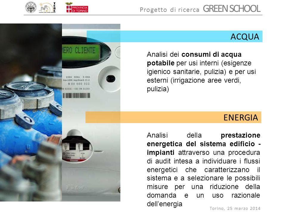 Progetto di ricerca GREEN SCHOOL Torino, 25 marzo 2014 Analisi dei consumi di acqua potabile per usi interni (esigenze igienico sanitarie, pulizia) e