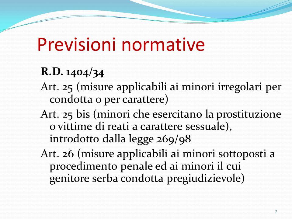 Previsioni normative R.D. 1404/34 Art. 25 (misure applicabili ai minori irregolari per condotta o per carattere)  Art. 25 bis (minori che esercitano