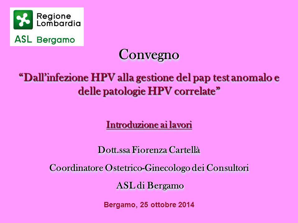 """Convegno """"Dall'infezione HPV alla gestione del pap test anomalo e delle patologie HPV correlate"""" Introduzione ai lavori Dott.ssa Fiorenza Cartellà Coo"""