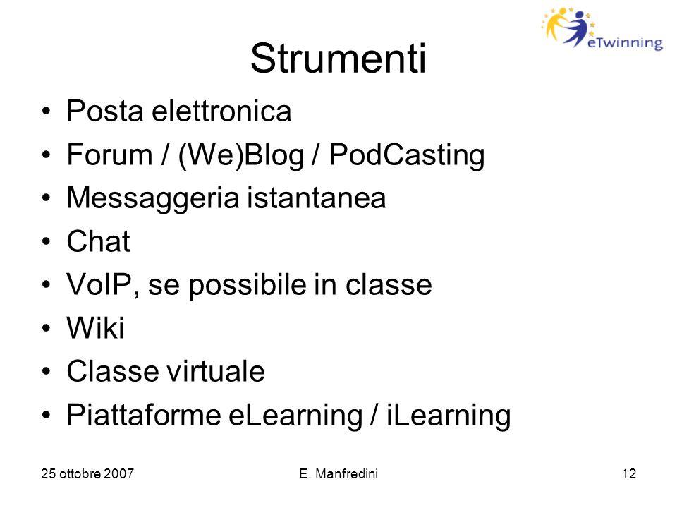 25 ottobre 2007E. Manfredini12 Strumenti Posta elettronica Forum / (We)Blog / PodCasting Messaggeria istantanea Chat VoIP, se possibile in classe Wiki