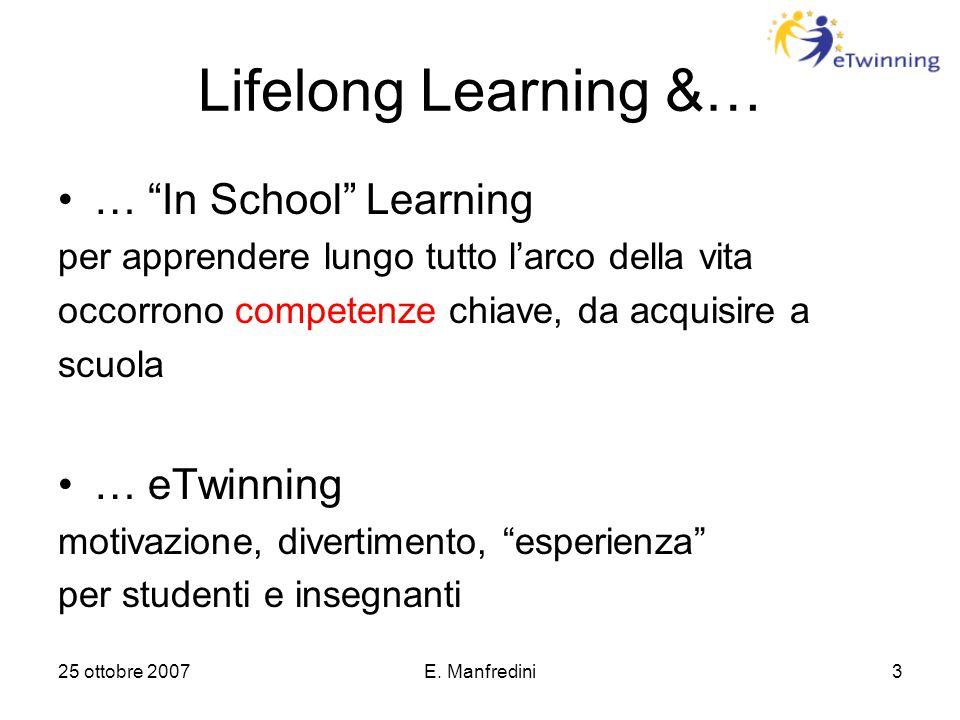 """25 ottobre 2007E. Manfredini3 Lifelong Learning &… … """"In School"""" Learning per apprendere lungo tutto l'arco della vita occorrono competenze chiave, da"""