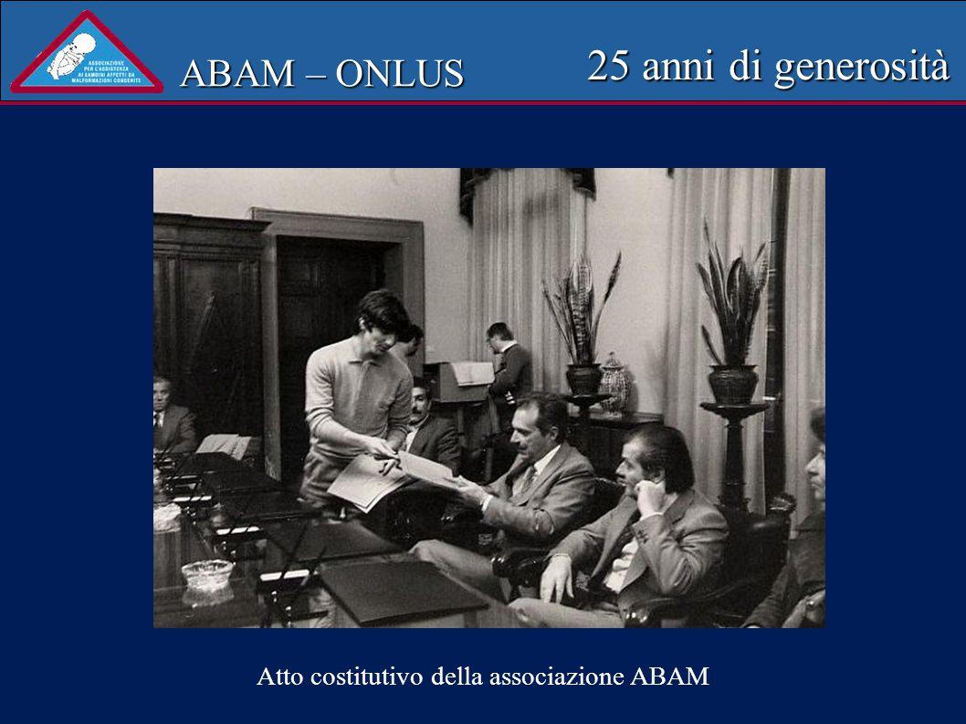 ABAM – ONLUS 25 anni di generosità N. di pazienti visitati 250 Periodo febbraio 2003-ottobre 2004