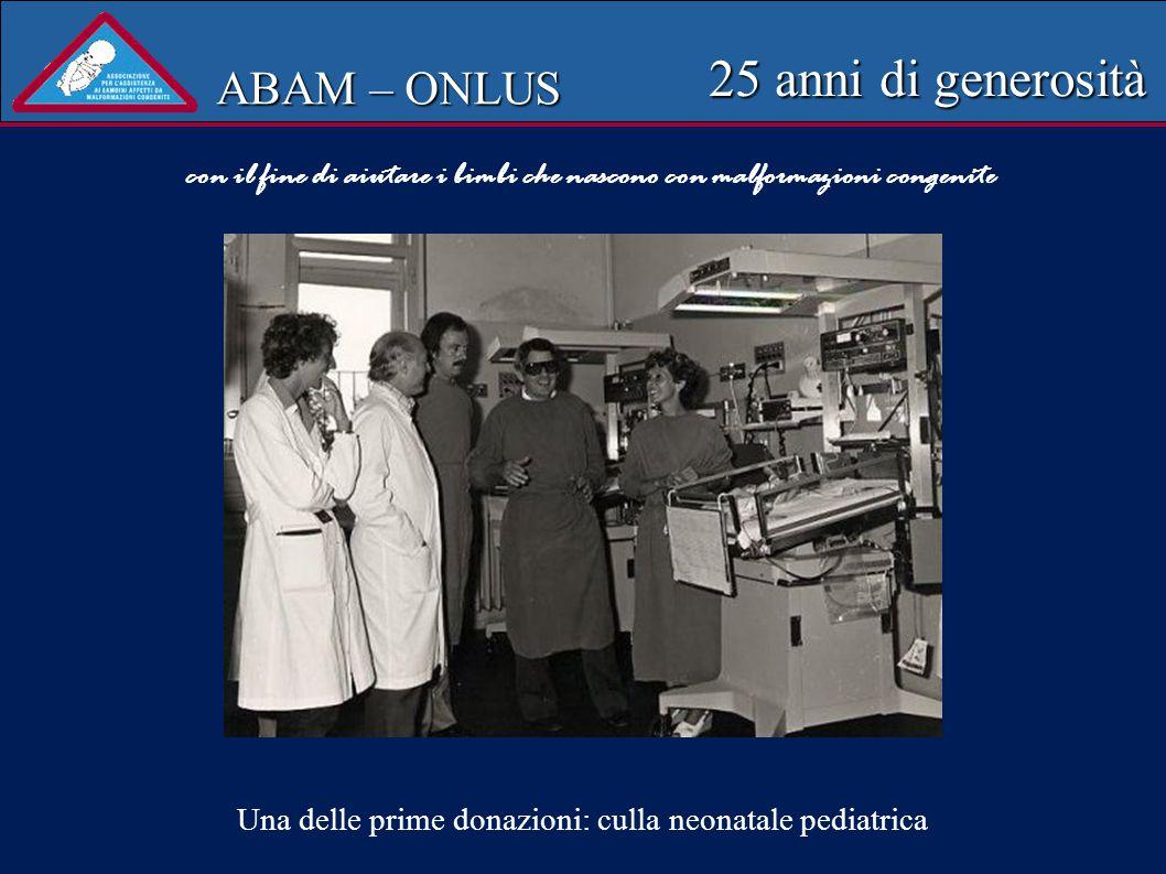 ABAM – ONLUS 25 anni di generosità N. Esami ecocardiografici 250 Periodo febbraio 2003-ottobre 2004