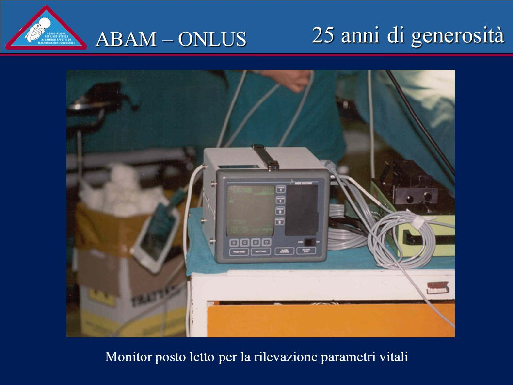 ABAM – ONLUS 25 anni di generosità Rino-faringo-laringoscopio fessibile pediatrico donato al reparto ORL dell Ospedale di Vicenza