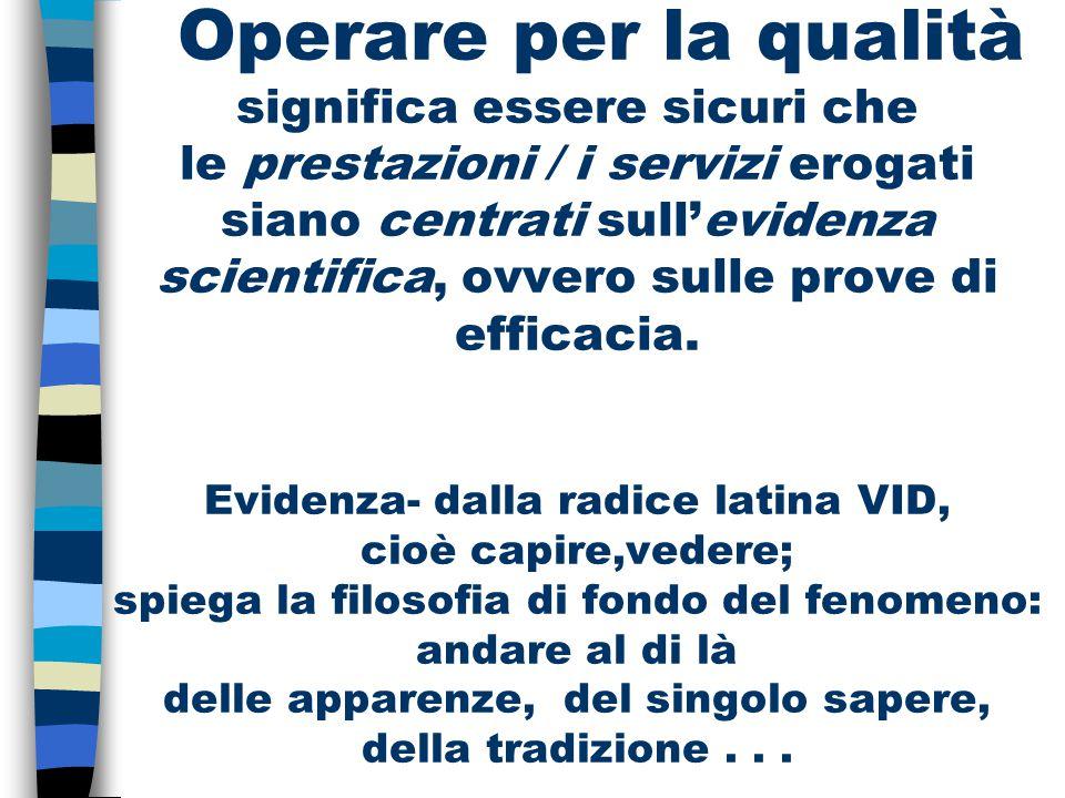 Operare per la qualità significa essere sicuri che le prestazioni / i servizi erogati siano centrati sull'evidenza scientifica, ovvero sulle prove di
