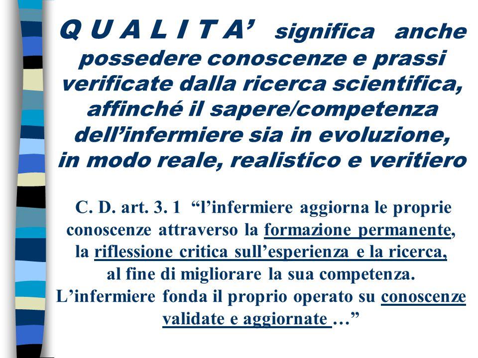 Q U A L I T A' significa anche possedere conoscenze e prassi verificate dalla ricerca scientifica, affinché il sapere/competenza dell'infermiere sia i