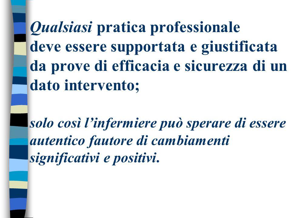 Qualsiasi pratica professionale deve essere supportata e giustificata da prove di efficacia e sicurezza di un dato intervento; solo così l'infermiere
