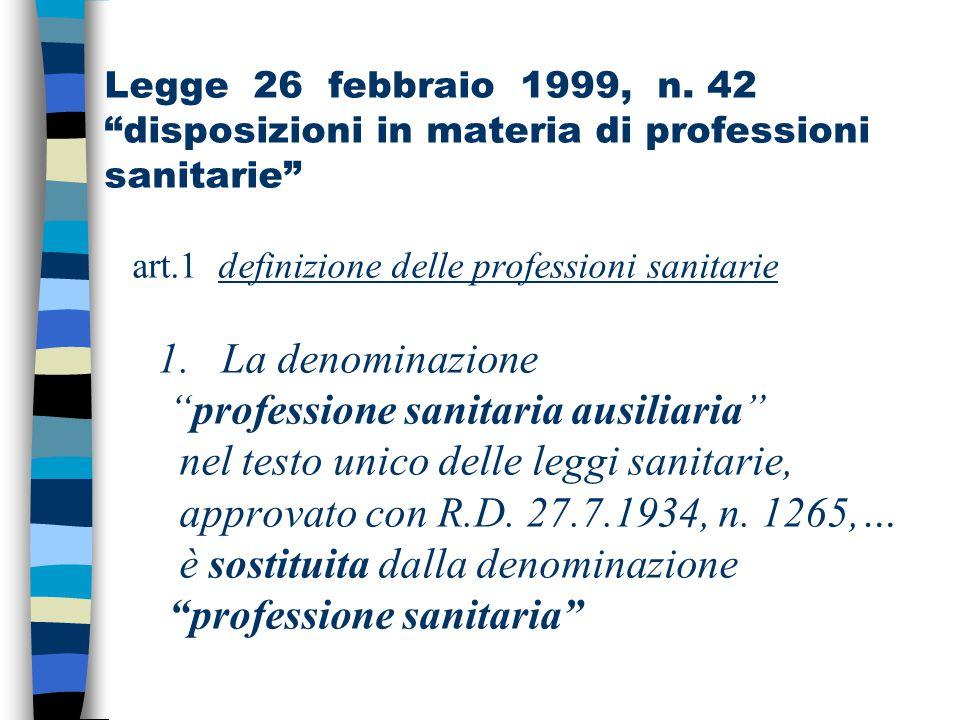 """Legge 26 febbraio 1999, n. 42 """"disposizioni in materia di professioni sanitarie"""" art.1 definizione delle professioni sanitarie 1. La denominazione """"pr"""