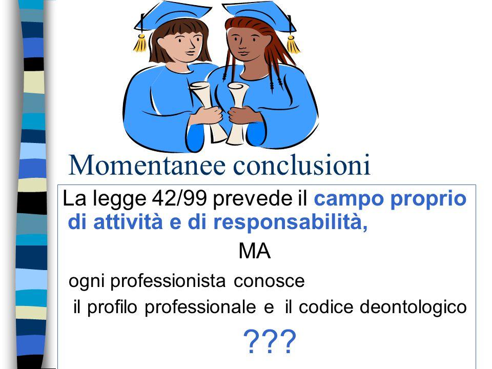 Momentanee conclusioni La legge 42/99 prevede il campo proprio di attività e di responsabilità, MA ogni professionista conosce il profilo professional