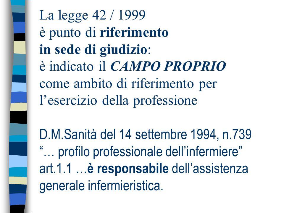 La legge 42 / 1999 è punto di riferimento in sede di giudizio: è indicato il CAMPO PROPRIO come ambito di riferimento per l'esercizio della profession