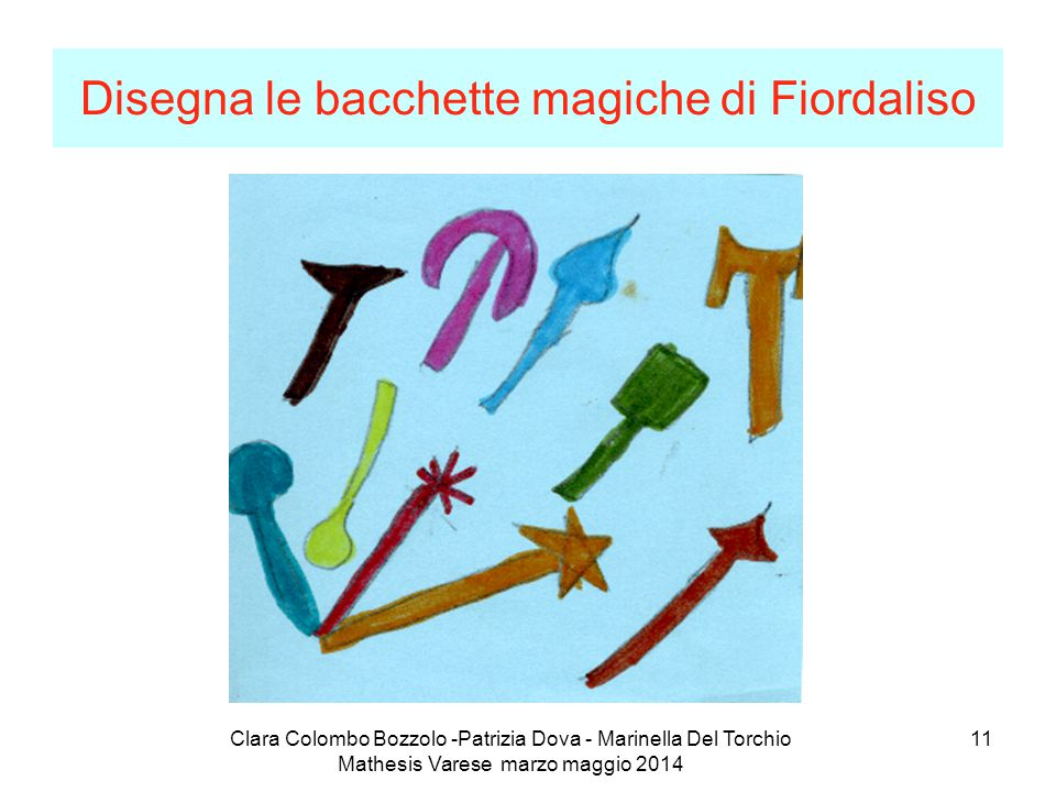 Clara Colombo Bozzolo -Patrizia Dova - Marinella Del Torchio Mathesis Varese marzo maggio 2014 11 Disegna le bacchette magiche di Fiordaliso