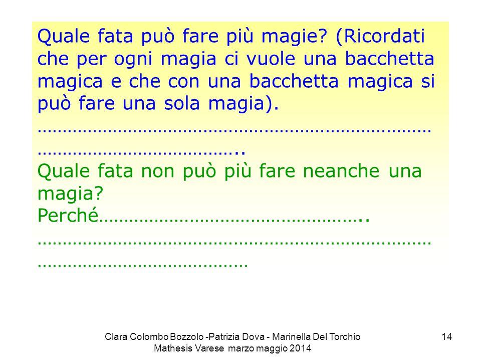 Clara Colombo Bozzolo -Patrizia Dova - Marinella Del Torchio Mathesis Varese marzo maggio 2014 14 Quale fata può fare più magie? (Ricordati che per og