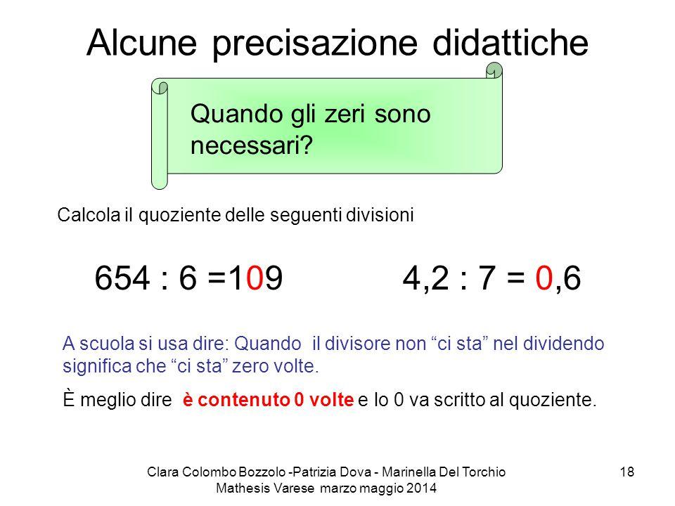 Clara Colombo Bozzolo -Patrizia Dova - Marinella Del Torchio Mathesis Varese marzo maggio 2014 18 Alcune precisazione didattiche Quando gli zeri sono