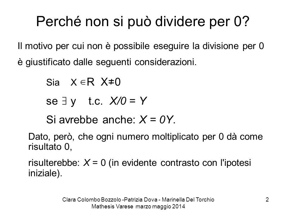 Clara Colombo Bozzolo -Patrizia Dova - Marinella Del Torchio Mathesis Varese marzo maggio 2014 2 Perché non si può dividere per 0? Il motivo per cui n