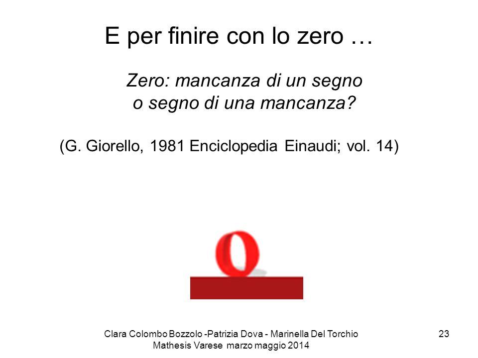 Clara Colombo Bozzolo -Patrizia Dova - Marinella Del Torchio Mathesis Varese marzo maggio 2014 23 E per finire con lo zero … Zero: mancanza di un segn