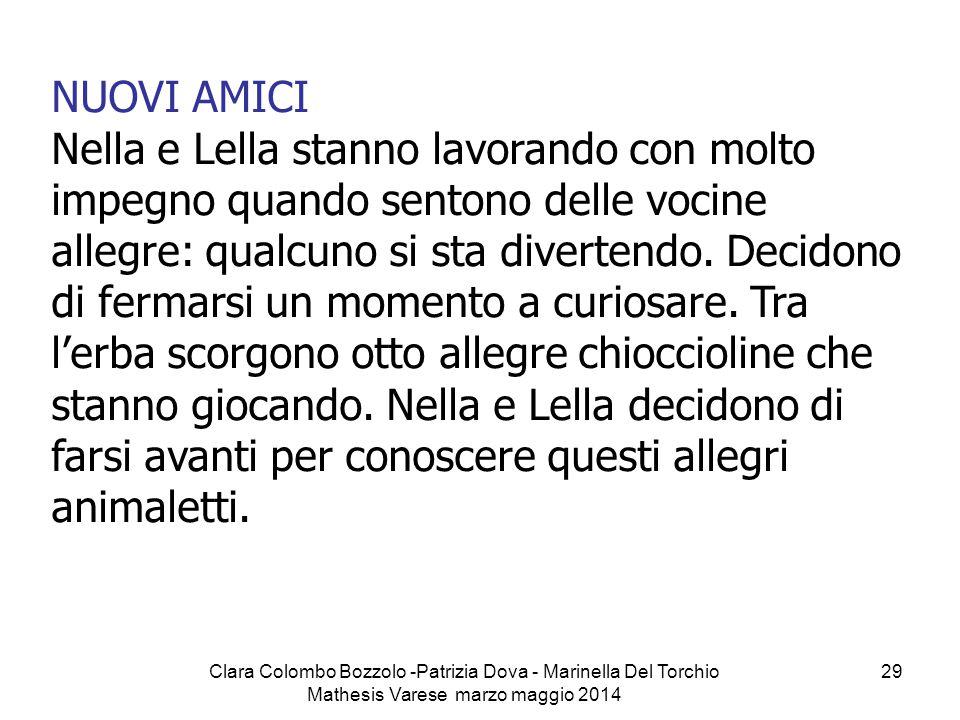 Clara Colombo Bozzolo -Patrizia Dova - Marinella Del Torchio Mathesis Varese marzo maggio 2014 29 NUOVI AMICI Nella e Lella stanno lavorando con molto
