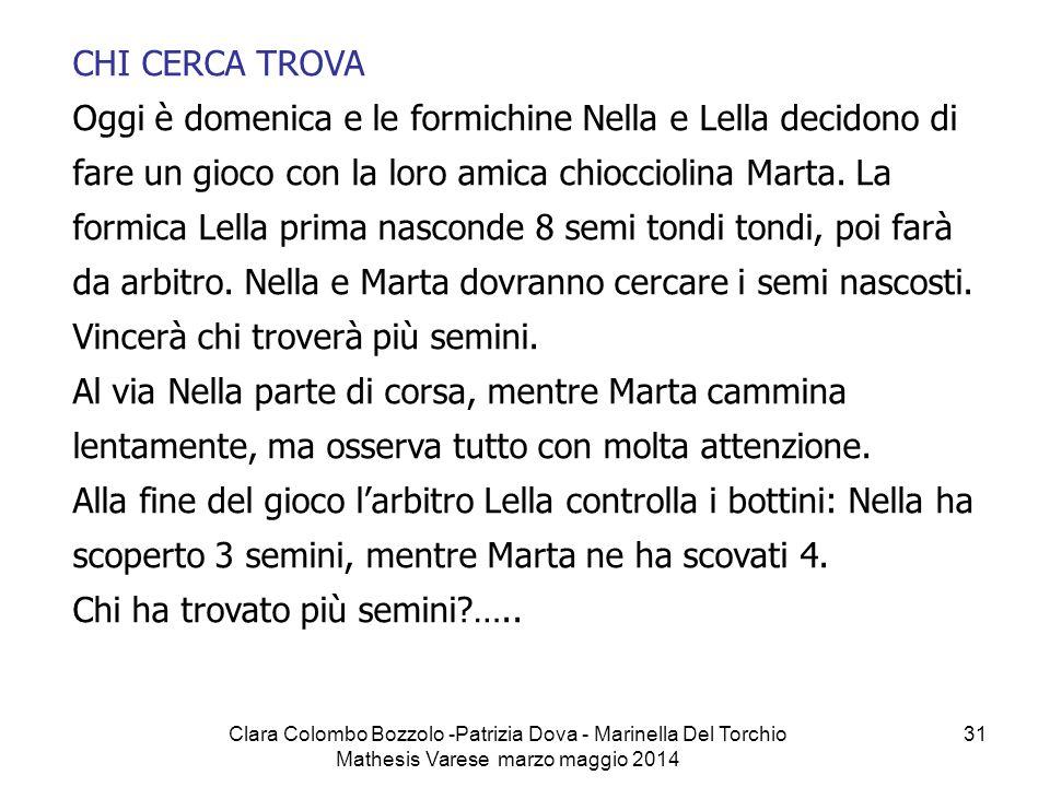 Clara Colombo Bozzolo -Patrizia Dova - Marinella Del Torchio Mathesis Varese marzo maggio 2014 31 CHI CERCA TROVA Oggi è domenica e le formichine Nell