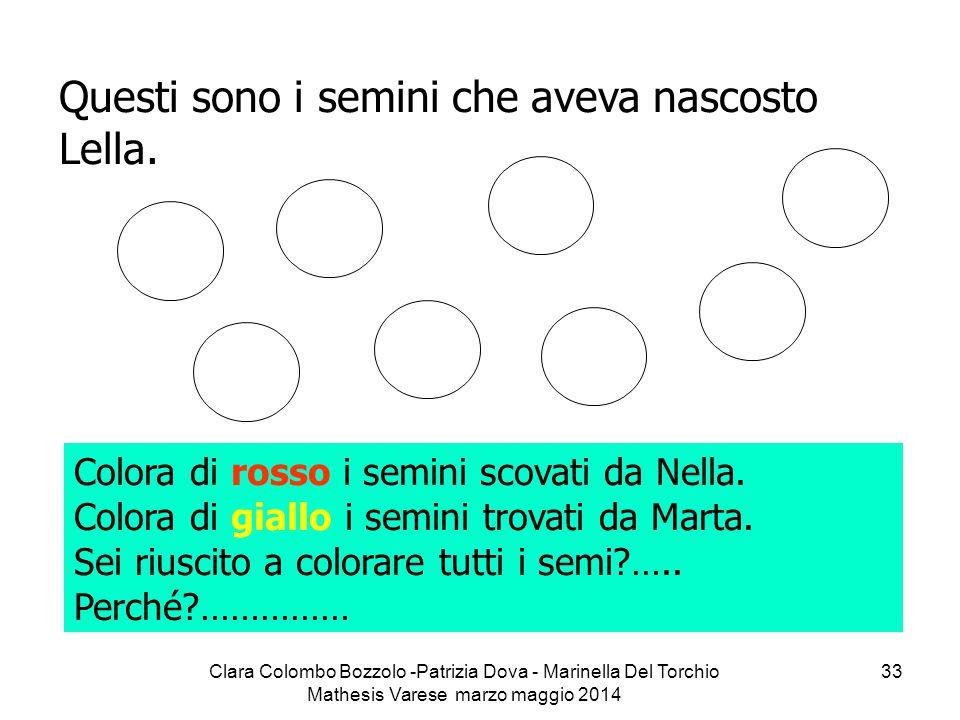 Clara Colombo Bozzolo -Patrizia Dova - Marinella Del Torchio Mathesis Varese marzo maggio 2014 33 Questi sono i semini che aveva nascosto Lella. Color