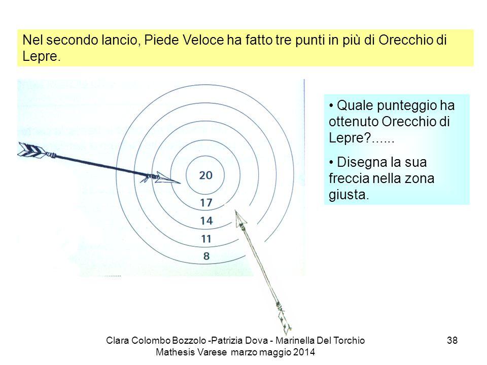 Clara Colombo Bozzolo -Patrizia Dova - Marinella Del Torchio Mathesis Varese marzo maggio 2014 38 Nel secondo lancio, Piede Veloce ha fatto tre punti