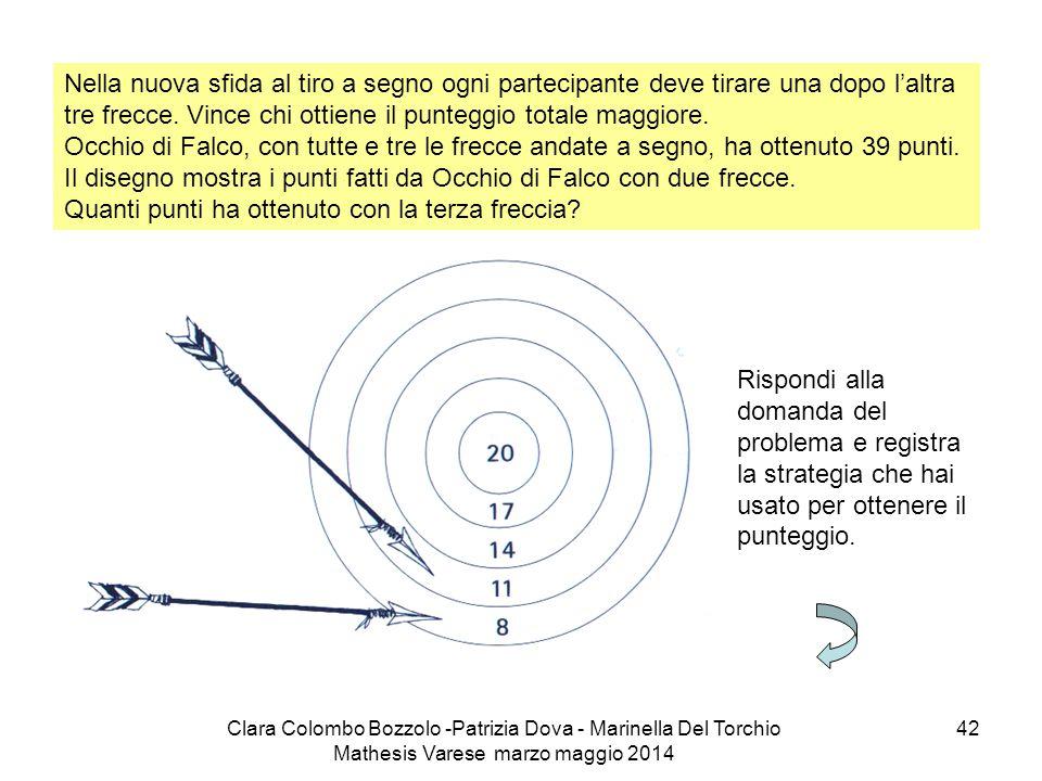 Clara Colombo Bozzolo -Patrizia Dova - Marinella Del Torchio Mathesis Varese marzo maggio 2014 42 Nella nuova sfida al tiro a segno ogni partecipante