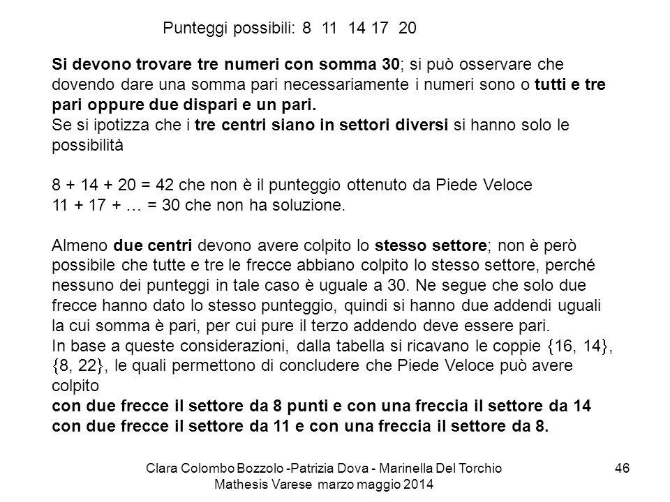 Clara Colombo Bozzolo -Patrizia Dova - Marinella Del Torchio Mathesis Varese marzo maggio 2014 46 Si devono trovare tre numeri con somma 30; si può os
