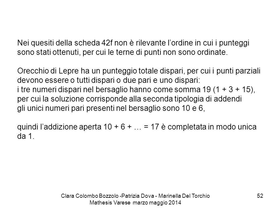 Clara Colombo Bozzolo -Patrizia Dova - Marinella Del Torchio Mathesis Varese marzo maggio 2014 52 Nei quesiti della scheda 42f non è rilevante l'ordin
