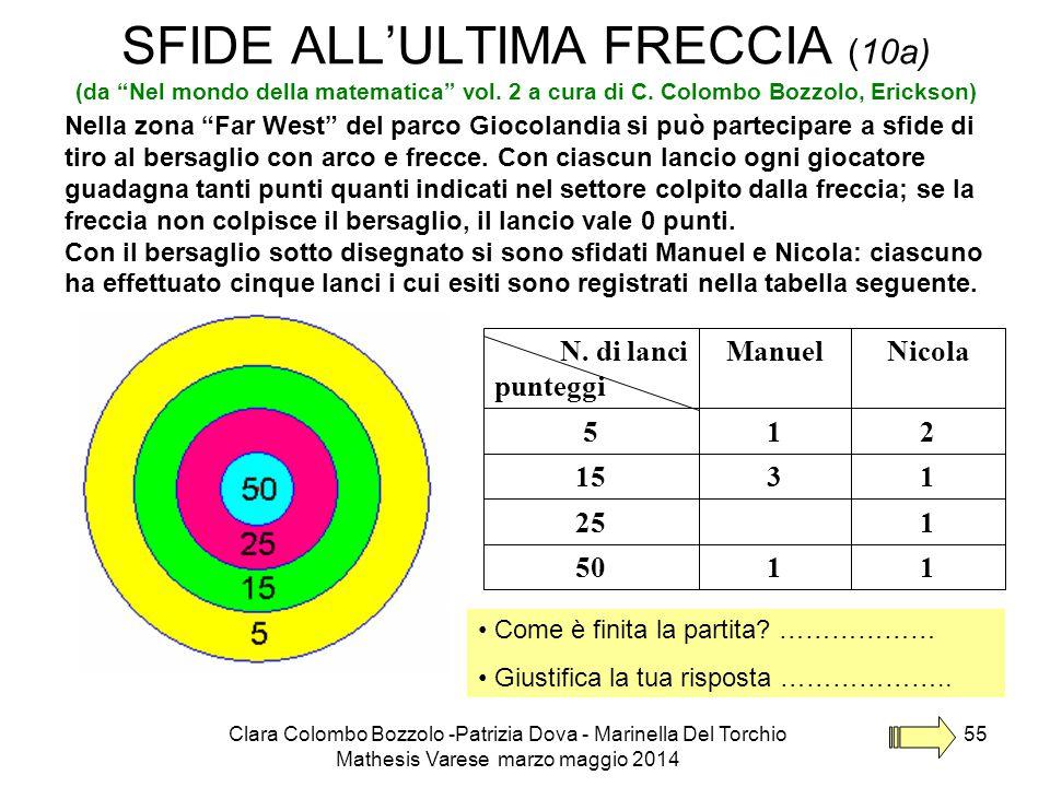 """Clara Colombo Bozzolo -Patrizia Dova - Marinella Del Torchio Mathesis Varese marzo maggio 2014 55 SFIDE ALL'ULTIMA FRECCIA (10a) (da """"Nel mondo della"""