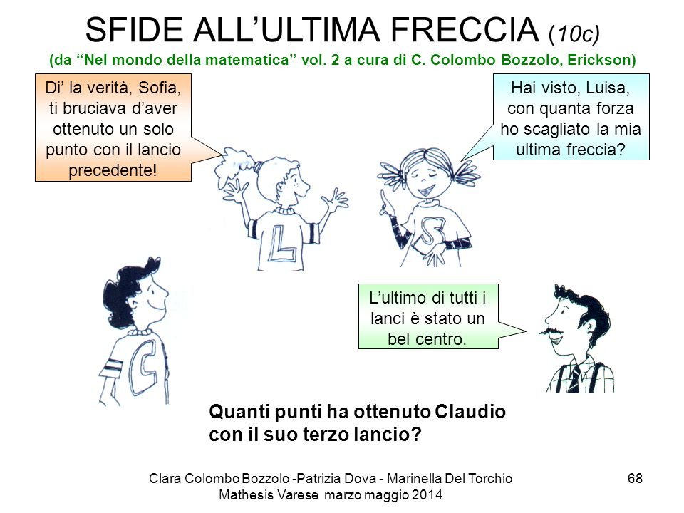 """Clara Colombo Bozzolo -Patrizia Dova - Marinella Del Torchio Mathesis Varese marzo maggio 2014 68 SFIDE ALL'ULTIMA FRECCIA (10c) (da """"Nel mondo della"""