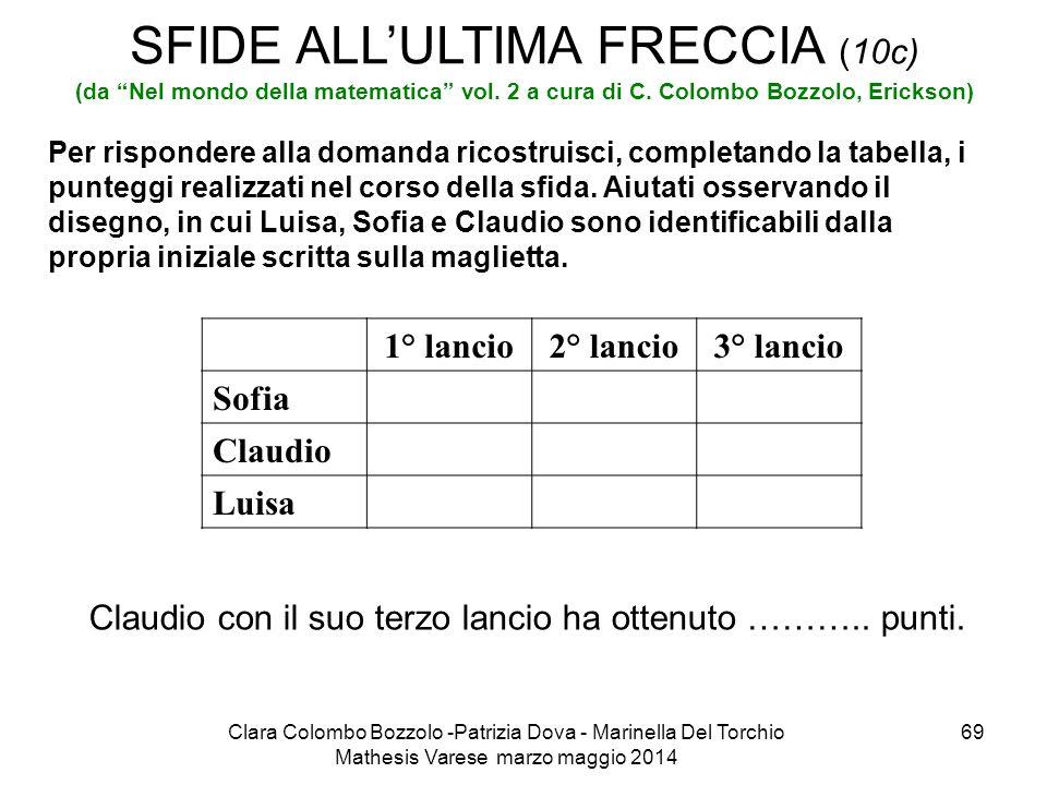 """Clara Colombo Bozzolo -Patrizia Dova - Marinella Del Torchio Mathesis Varese marzo maggio 2014 69 SFIDE ALL'ULTIMA FRECCIA (10c) (da """"Nel mondo della"""