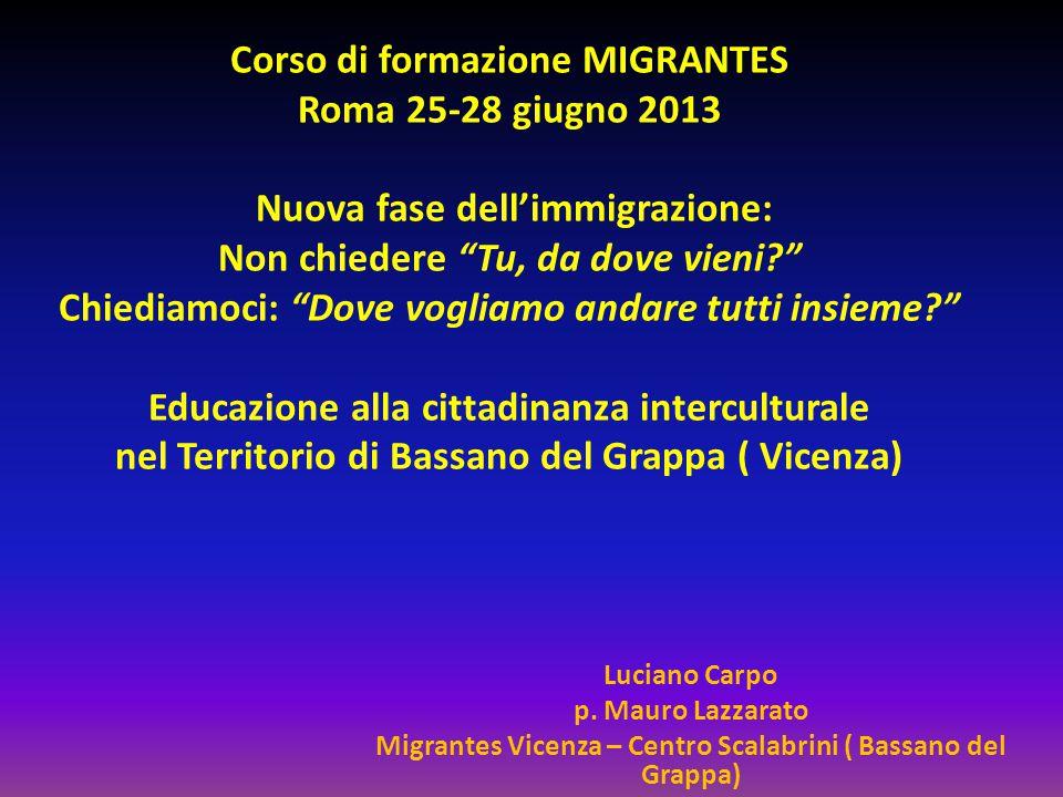 """Corso di formazione MIGRANTES Roma 25-28 giugno 2013 Nuova fase dell'immigrazione: Non chiedere """"Tu, da dove vieni?"""" Chiediamoci: """"Dove vogliamo andar"""