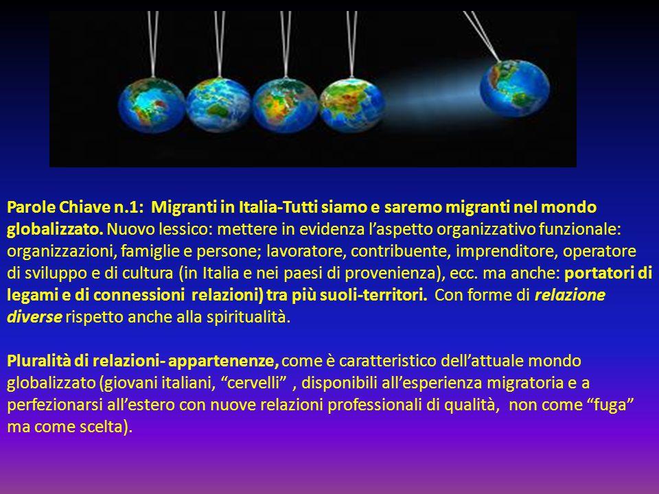Parole Chiave n.1: Migranti in Italia-Tutti siamo e saremo migranti nel mondo globalizzato. Nuovo lessico: mettere in evidenza l'aspetto organizzativo