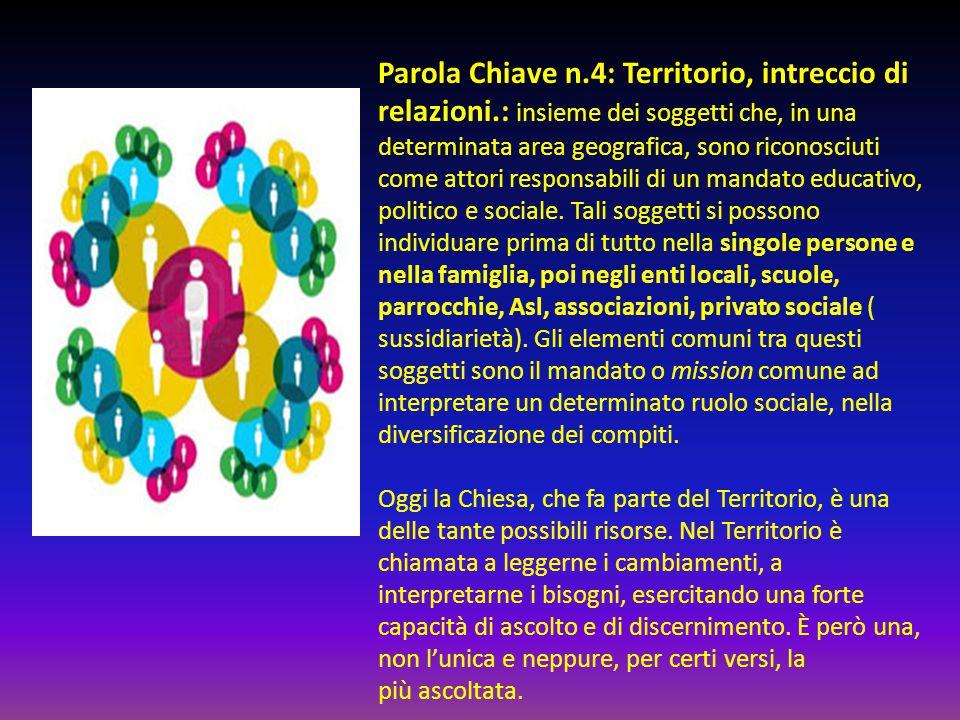 Parola Chiave n.4: Territorio, intreccio di relazioni.: insieme dei soggetti che, in una determinata area geografica, sono riconosciuti come attori responsabili di un mandato educativo, politico e sociale.