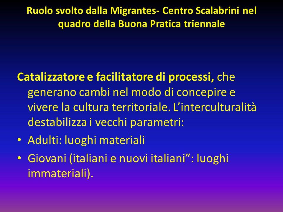 Ruolo svolto dalla Migrantes- Centro Scalabrini nel quadro della Buona Pratica triennale Catalizzatore e facilitatore di processi, che generano cambi