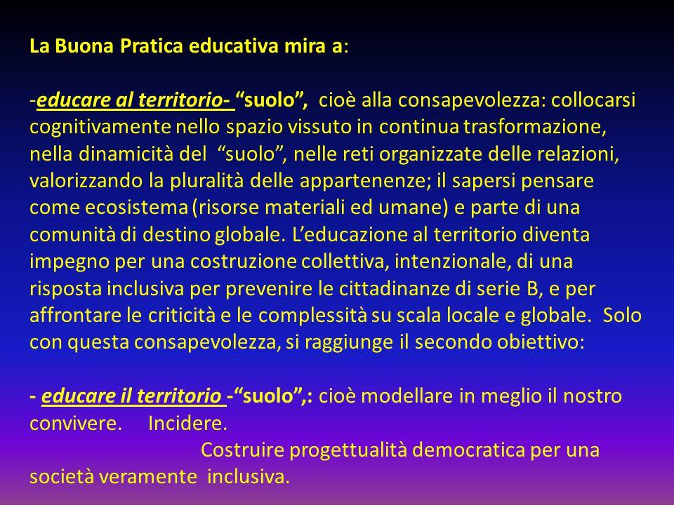 """La Buona Pratica educativa mira a: -educare al territorio- """"suolo"""", cioè alla consapevolezza: collocarsi cognitivamente nello spazio vissuto in contin"""