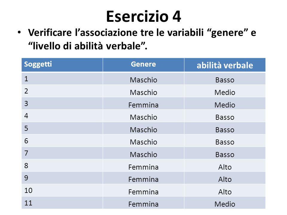 """Esercizio 4 Verificare l'associazione tre le variabili """"genere"""" e """"livello di abilità verbale"""". SoggettiGenere abilità verbale 1 MaschioBasso 2 Maschi"""