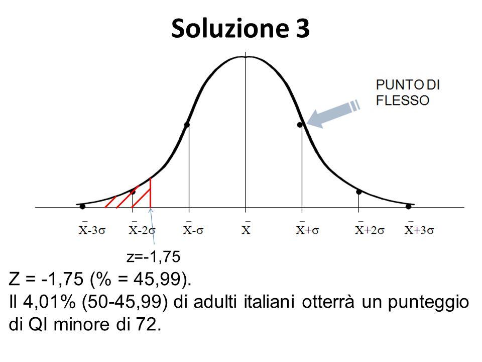 Soluzione 3 Z = -1,75 (% = 45,99). Il 4,01% (50-45,99) di adulti italiani otterrà un punteggio di QI minore di 72. z=-1,75