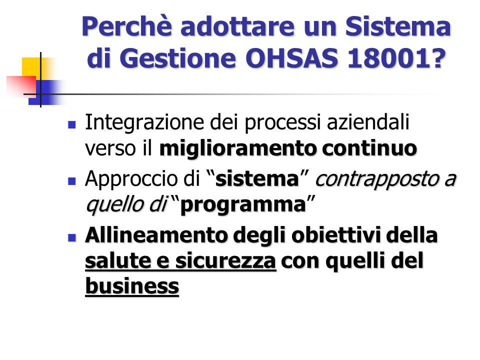 Perchè adottare un Sistema di Gestione OHSAS 18001? E' una Linea Guida per l'implementazione di un Sistema di Gestione della Salute e Sicurezza sul La