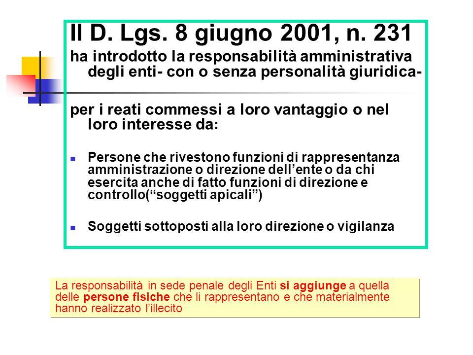 Il D.Lgs. 8 giugno 2001, n.