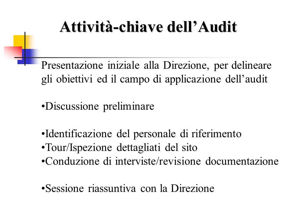Attività di Pre-Audit Questionario, prima della visita Raccolta e Organizzazione dei Documenti Informazione all'organizzazione e programmazione degli