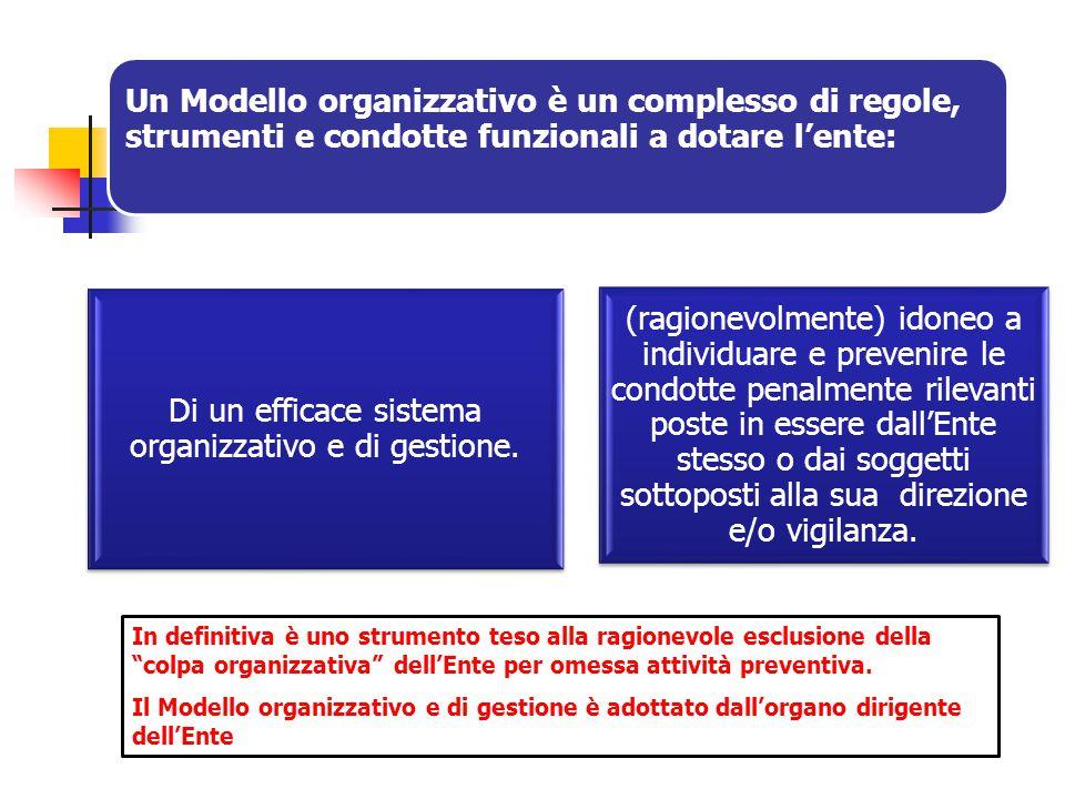 Un Modello organizzativo è un complesso di regole, strumenti e condotte funzionali a dotare l'ente: Di un efficace sistema organizzativo e di gestione.