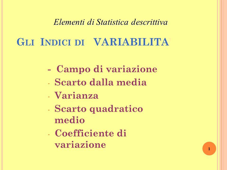 G LI I NDICI DI VARIABILITA' - Campo di variazione - Scarto dalla media - Varianza - Scarto quadratico medio - Coefficiente di variazione 1 Elementi di Statistica descrittiva