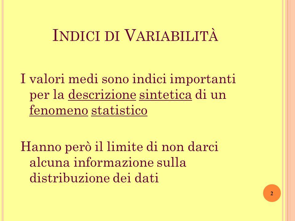 I NDICI DI V ARIABILITÀ I valori medi sono indici importanti per la descrizione sintetica di un fenomeno statistico Hanno però il limite di non darci alcuna informazione sulla distribuzione dei dati 2