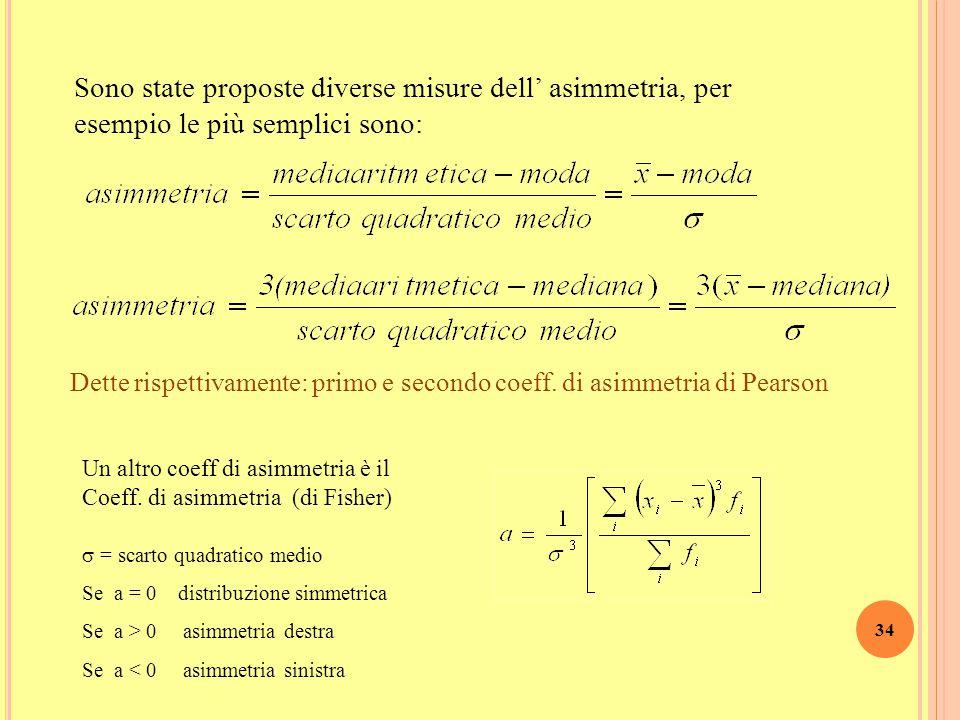 33 A SIMMETRIA Una distribuzione è simmetrica quando la sua curva di frequenza presenta un asse di simmetria In una distribuzione simmetrica media, me