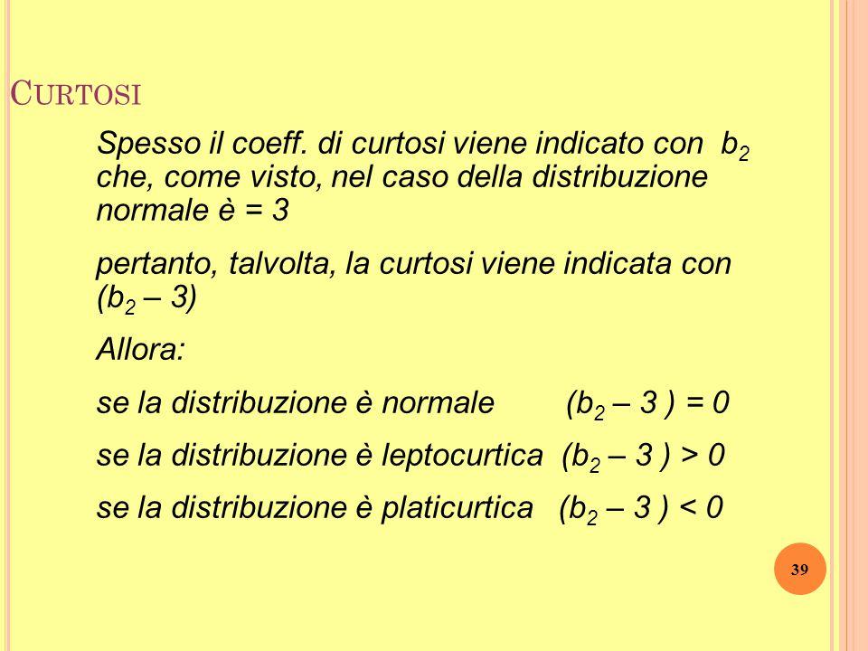 38 C URTOSI leptocurtosi K = 8,57 platicurtosi K = 2,8 curva normale K = 3