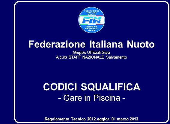 1. Federazione Italiana Nuoto Gruppo Ufficiali Gara A cura STAFF NAZIONALE Salvamento CODICI SQUALIFICA - Gare in Piscina - Regolamento Tecnico 2012 a