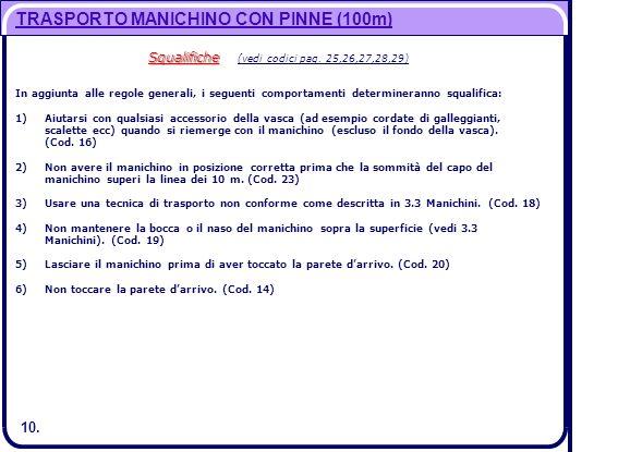 10. TRASPORTO MANICHINO CON PINNE (100m) Squalifiche Squalifiche (vedi codici pag. 25,26,27,28,29) In aggiunta alle regole generali, i seguenti compor