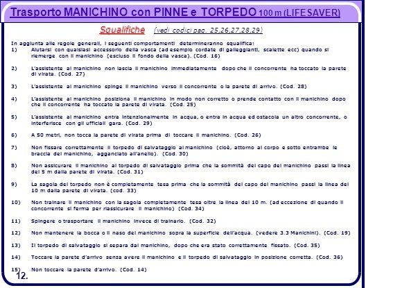 12. Trasporto MANICHINO con PINNE e TORPEDO 100 m ( LIFESAVER) Squalifiche Squalifiche (vedi codici pag. 25,26,27,28,29) In aggiunta alle regole gener